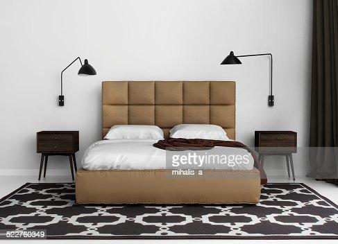 Moderne Elegante Luxus Schlafzimmer Mit Lederbett Stock-Foto