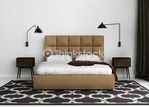 moderne elegante luxus schlafzimmer mit lederbett stock-foto ... - Lederbett Modern Schlafzimmer