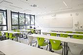 Contemporary empty school matematics classroom in Primorska region in Slovenia, Europe. Nikon D850.