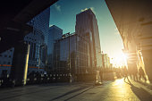 Contemporary financial district in Canary Wharf during sunrise, London