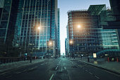 Contemporary financial district in Canary Wharf during twilight, London. Tilt shift.