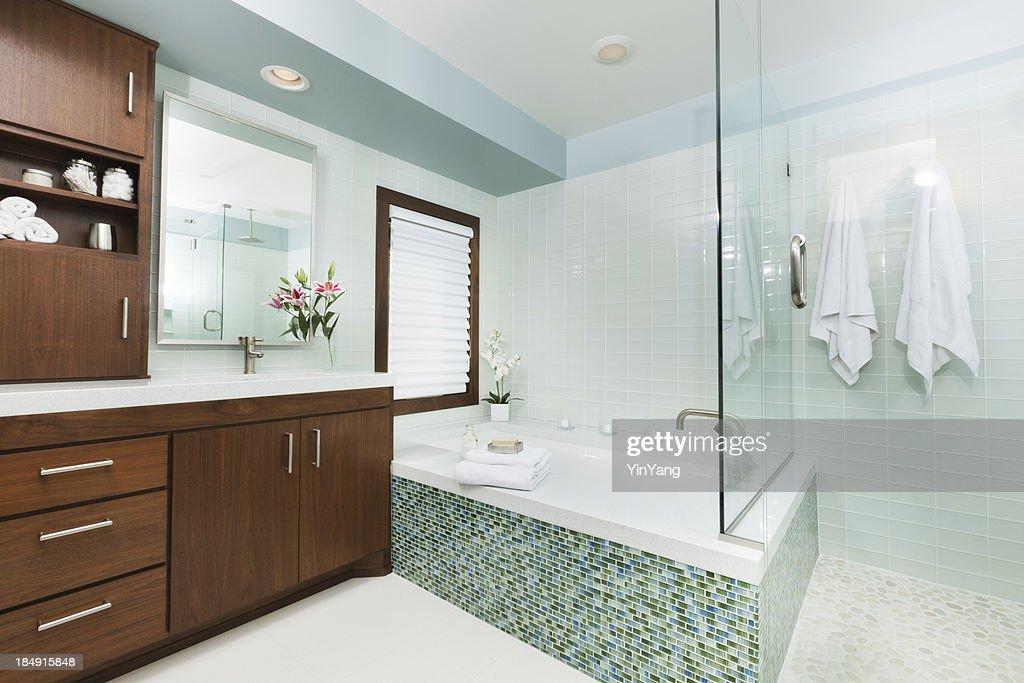 Contemporary Home Bathroom With Shower Stall Tub And Vanity Stock ...