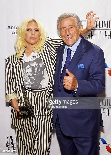 Contemporary Icon Award Recipient Lady Gaga and Singer Tony Bennett pose backstage at the Songwriters Hall Of Fame 46th Annual Induction And Awards...