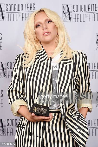 Contemporary Icon Award Recipient Lady Gaga poses backstage at the Songwriters Hall Of Fame 46th Annual Induction And Awards at Marriott Marquis...