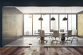 Contemporary meeting room interior with city view and daylight. 3D Rendering