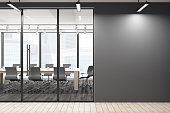 Contemporary meeting room corridor with empty wall and city view. Mock up, 3D Rendering