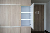 Contemporary modern fully fitted wooden storage cabinet for interior design.