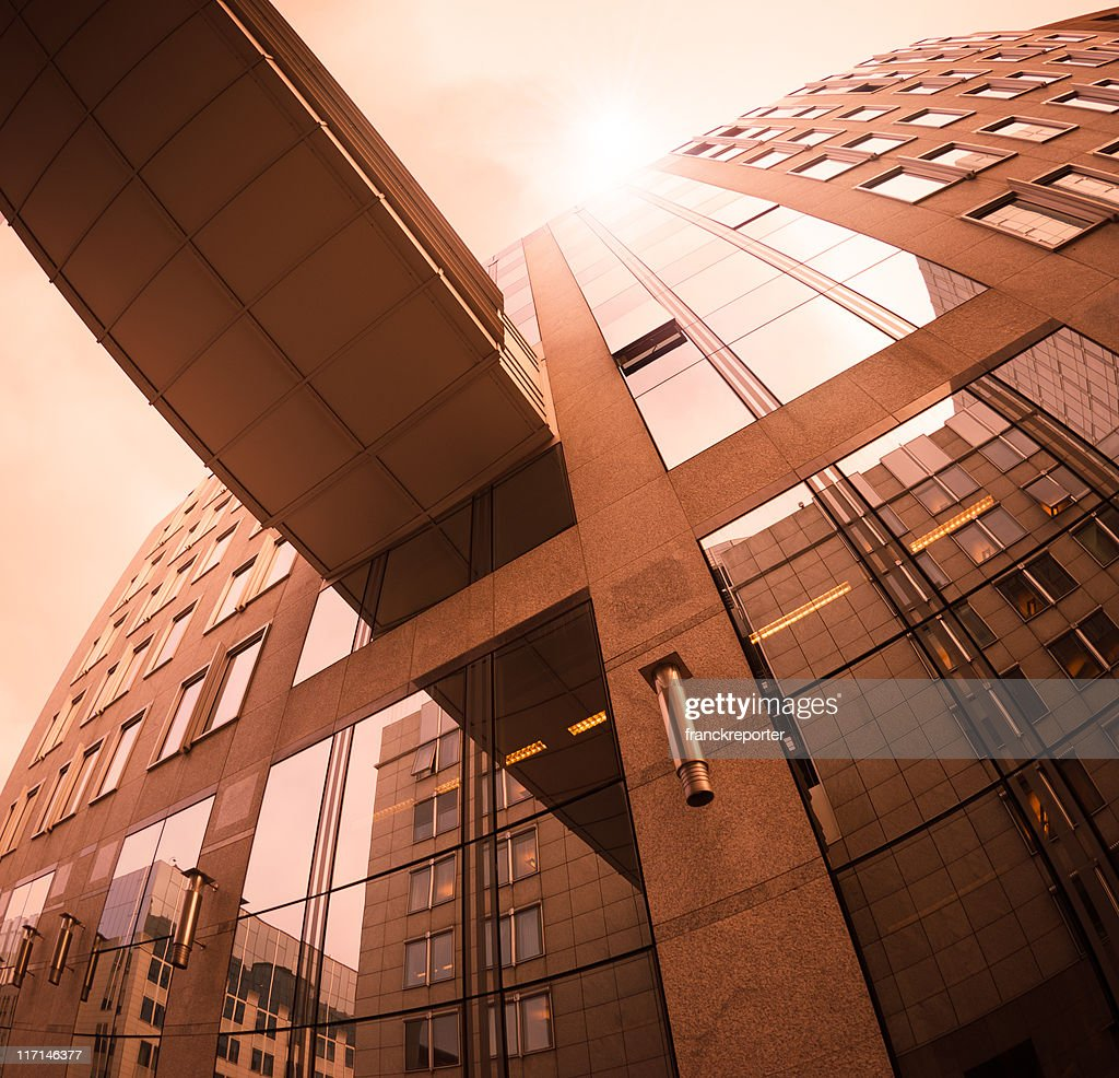Contemporary office building at  Sunset : Stock Photo