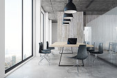Contemporary office interior with panoramic city view, furniture and equipment. 3D Rendering