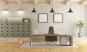 Two levels contemporary office with filing cabinet , modern desk and wooden ceiling - 3d rendering