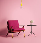 Rendering of a Contemporary pink phux armchair