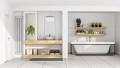 Contemporary white bathroom with sink on wooden shelf and bathtub - 3D Rendering