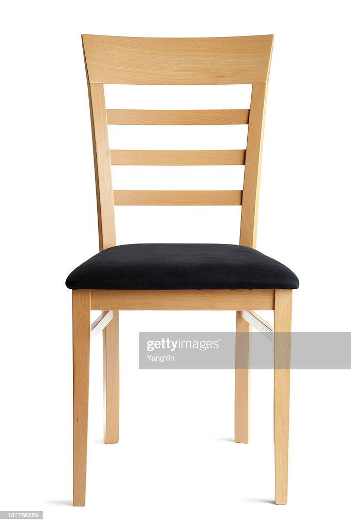 Contemporary Beech Wood Chair Front View Isolated on White Backg