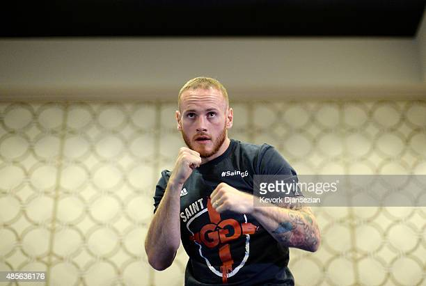 Contender George Groves 'Saint George' from Hammersmith London United Kingdom during a media workout in preparation for his fight against WBC Super...