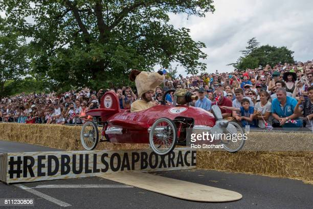 A contender in The Red Bull Soapbox Race begins to descend down the course at Alexandra Palace on July 9 2017 in London England The event in which...