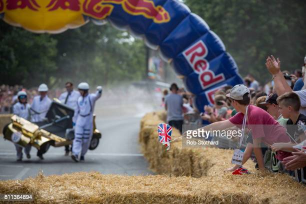 A contender in The Red Bull Soapbox Race races down the course at Alexandra Palace on July 9 2017 in London England The event in which amateur...