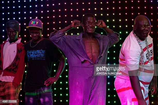 Contenders in the 'Ugly man' pageant pose for the judges panel during the 'Ugliest Man' contest in Harare Zimbabwe on November 20 2015 A 42yearold...