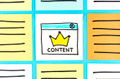 Content king illustration on paper note. Sponsored, promoted, paid post. Digital marketing and native advertising.