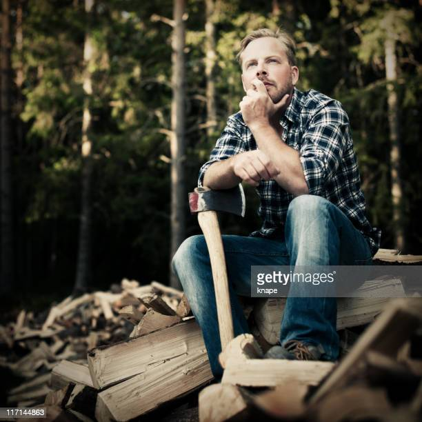 Content lumberjack with axe