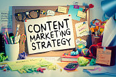 Content marketing strategy, search engine optimization ideas, business concept background in office.