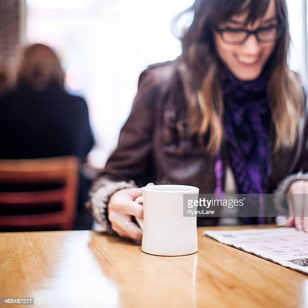 Content Woman in Cafe