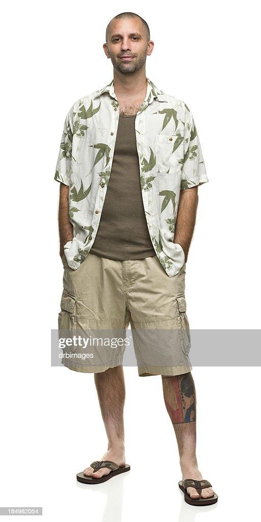 Contented Man in Hawaiian Shirt and Shorts