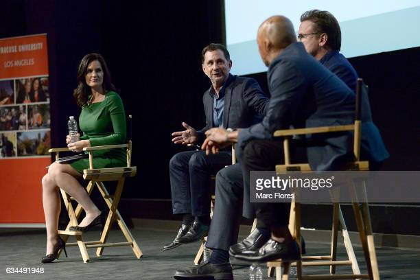 Contessa Brewer and David Gale speak on stage at Hollywood Bridging The Military Civilian Divide at Paramount Pictures on February 9 2017 in Los...
