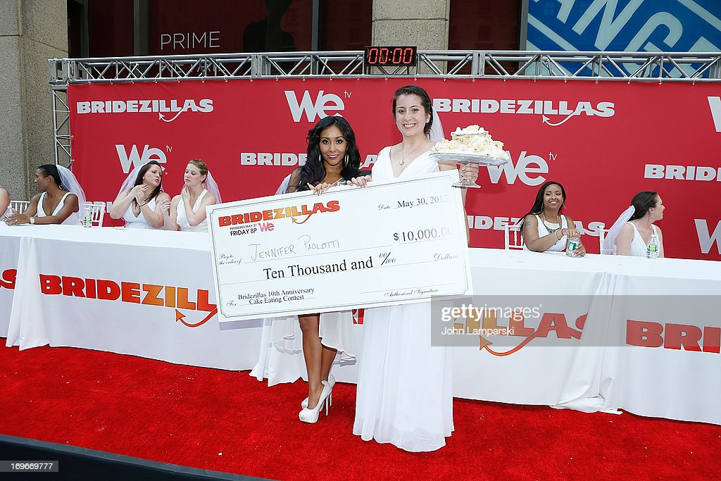 Contest winner Jennifer Paolotti and Nicole 'Snooki ' Polizzi attend the 'Bridezillas' Cake Eating Competition & WE TV's 10th Anniversary Celebration at Madison Square Garden on May 30, 2013 in New York City.