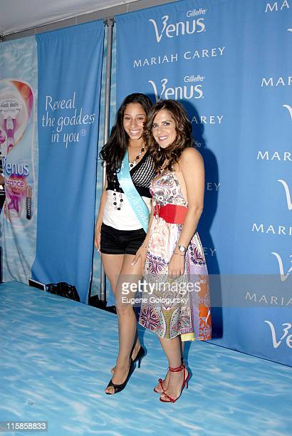 Contest Winner Lauren Jaramillo and Kelly Monaco during Kelly Monaco of 'General Hospital' Judges at the Venus 'Celebrity Legs of a Goddess' at...