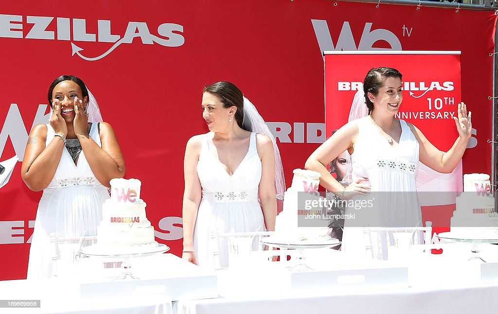 Contest Winnner Jennifer Paolotti (r) and contest participants attend the 'Bridezillas' Cake Eating Competition & WE TV's 10th Anniversary Celebration at Madison Square Garden on May 30, 2013 in New York City.