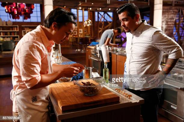 Contestant Adam and judge Aaron Sanchez in the allnew twohour In A Pinch/Gordons Game Of Chicken episode of MASTERCHEF airing Wednesday Aug 23 on FOX