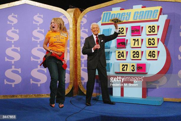 A contestant and host Bob Barker play 'The Price Is Right' million dollar spectacular celebrating host Bob Barker's induction into the Academy of...