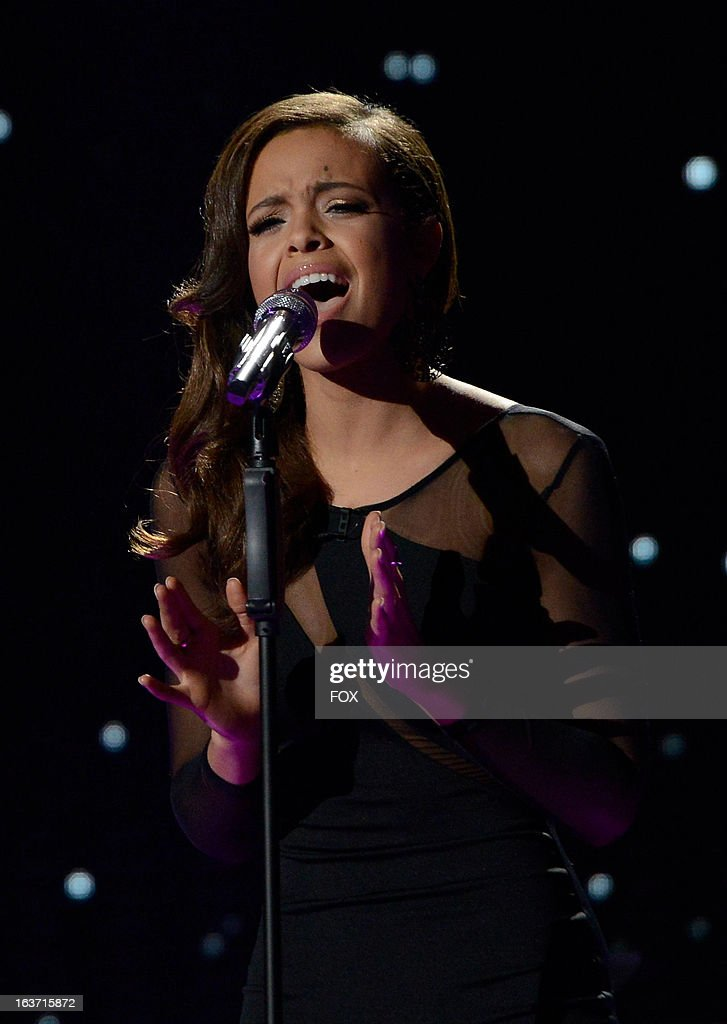 Contestant Aubrey Cleland performs onstage for a chance to go on tour at FOX's 'American Idol' Season 12 Top 10 To 9 Live Elimination Show on March 14, 2013 in Hollywood, California.