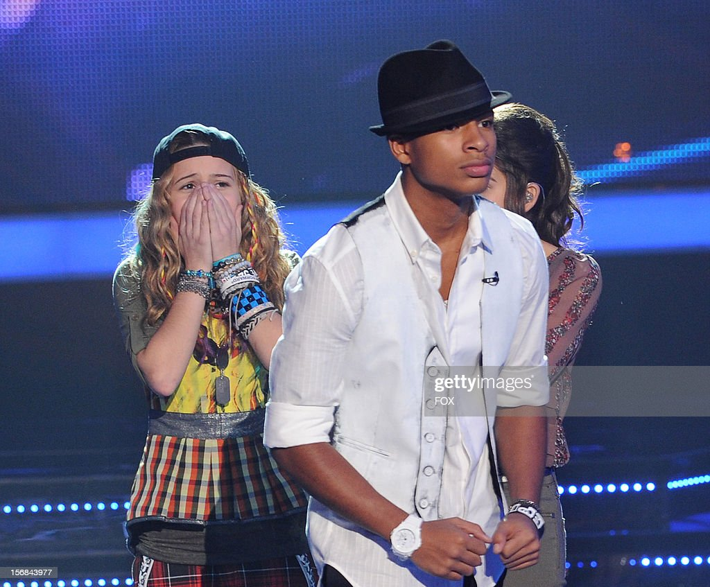 Contestant Beatrice Miller and eliminated contestant Arin Ray onstage at FOX's 'The X Factor' Season 2 Top 10 to 8 Live Elimination Show on November 22, 2012 in Hollywood, California.