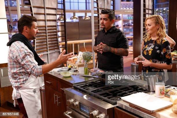 Contestant Brien and judges Aaron Sanchez and Christina Tosi in the allnew Americas Grocery Bag episode of MASTERCHEF airing Wednesday June 14 on FOX