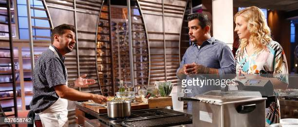 Contestant Brien with judges Aaron Sanchez and Christina Tosi in the allnew ShellShocked Scrambled episode of MASTERCHEF airing Wednesday June 28 on...