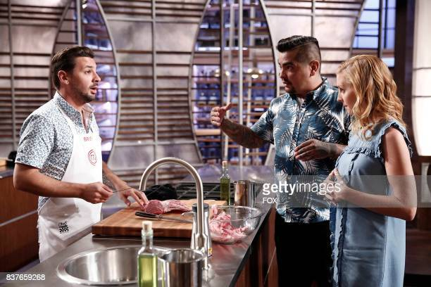 Contestant Brien with Judges Aaron Sanchez and Chtistina Tosi in the allnew Silenced By The Lambs episode of MASTERCHEF airing Wednesday July 12 on...