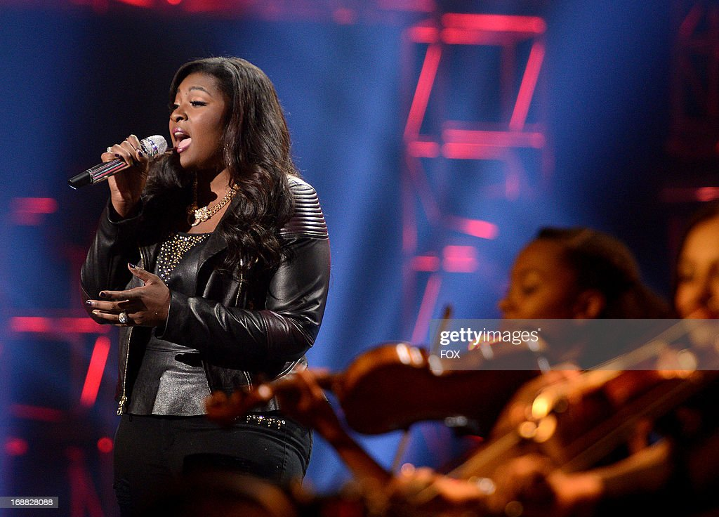 Contestant Candice Glover performs onstage at FOX's 'American Idol' Season 12 Top 2 Live Performance Show at Nokia Theatre L.A. Live on May 15, 2013 in Los Angeles, California.