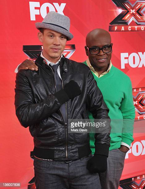 Contestant Chris Rene and judge LA Reid attend The X Factor Press Conference at CBS Television City on December 19 2011 in Los Angeles California