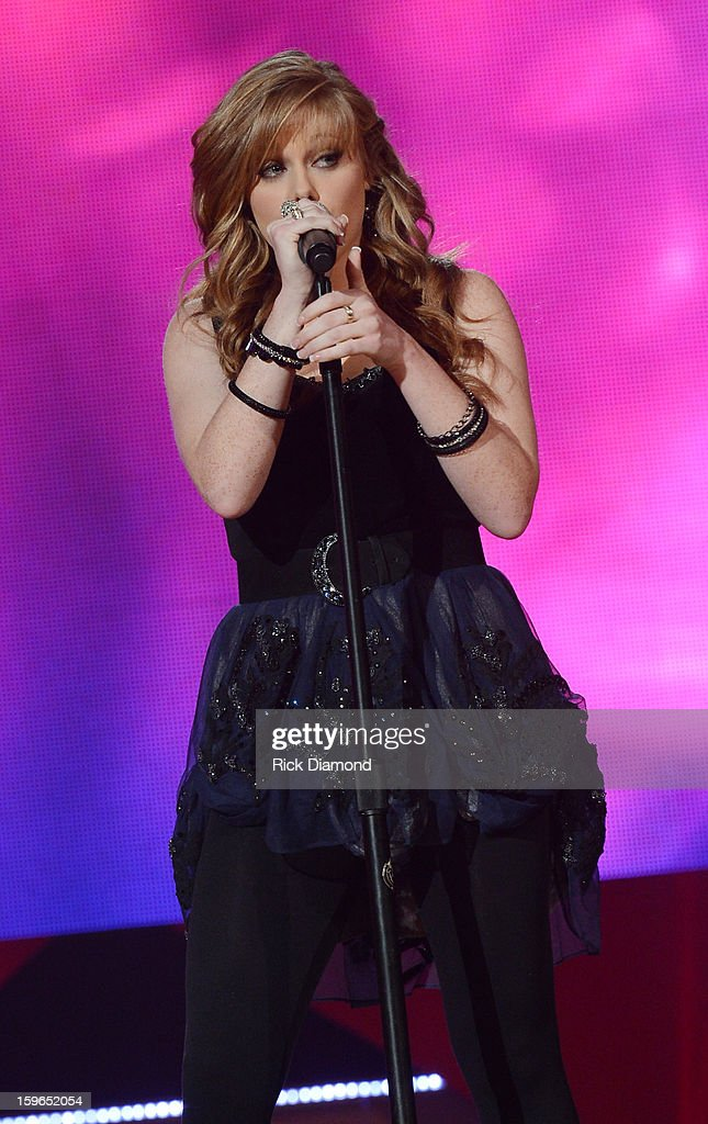 Contestant Diedre Thornell performs at the 31st annual Texaco Country Showdown National final at the Ryman Auditorium on January 17, 2013 in Nashville, Tennessee.