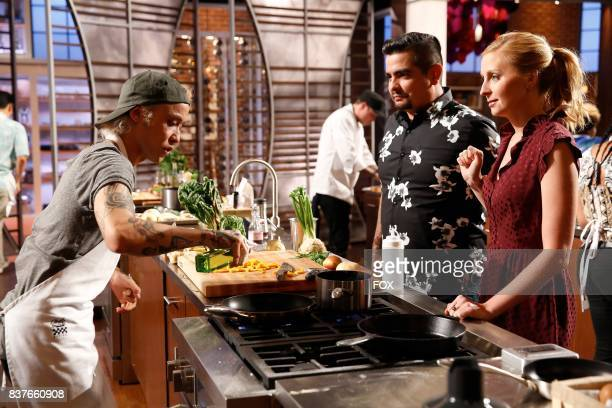 Contestant Dino and judges Aaron Sanchez and Christina Tosi in the episode of MASTERCHEF airing Wednesday Aug 9 on FOX