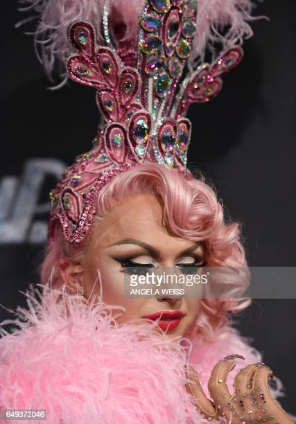 Contestant Farrah Moan attends 'RuPaul's Drag Race' Season Premiere party on March 7 2017 in New York City / AFP PHOTO / ANGELA WEISS