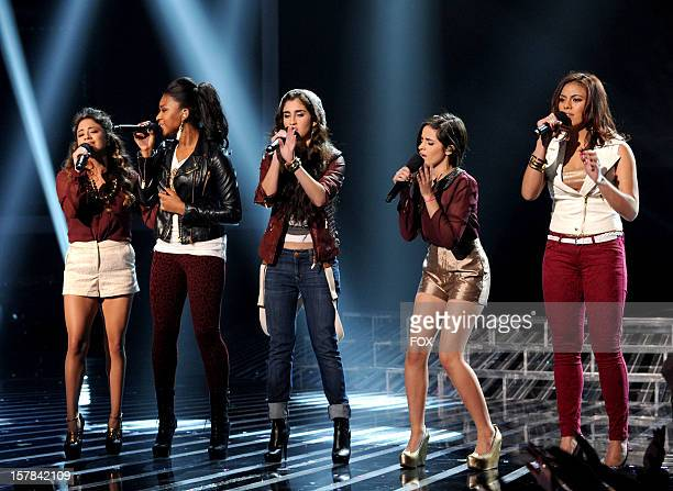 Contestant Fifth Harmony performs for a chance to move on in the competition onstage at FOX's 'The X Factor' Season 2 Top 6 to 4 Live Elimination...