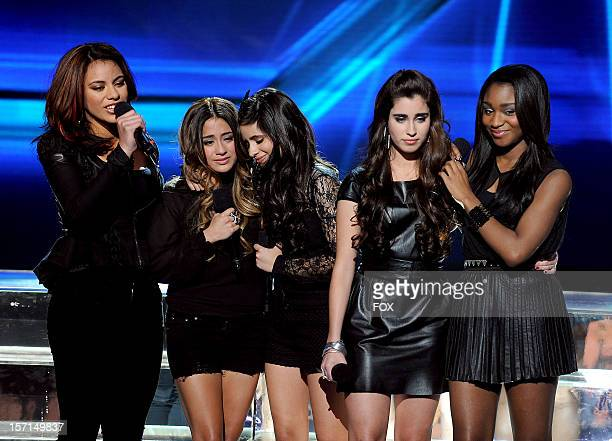 Contestant Fifth Harmony performs onstage at FOX's 'The X Factor' Season 2 Top 8 Live Performance Show on November 28 2012 in Hollywood California