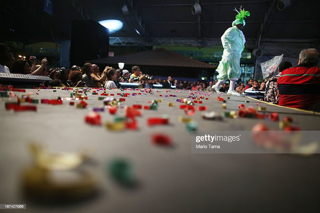 A contestant for king walks offstage during the ceremony deciding Rio's 2014 Carnival Queen and King in the port district on November 8, 2013 in Rio de Janeiro, Brazil. Rio's Carnival runs February 28 through March 4, just three months before the start of the 2014 FIFA World Cup in June.