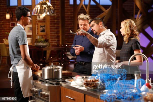 Contestant Gabriel host / judge Gordon Ramsay judge Aaron Sanchez and judge Christina Tosi in the allnew twohour In A Pinch/Gordons Game Of Chicken...