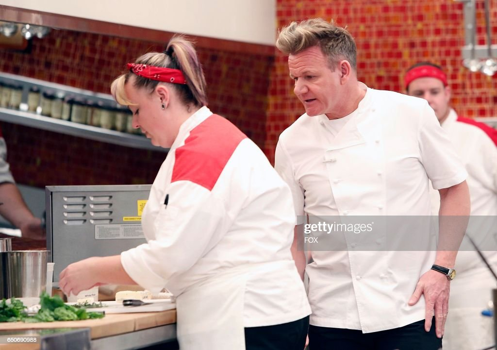 L-R: Contestant Heather and chef / host Gordon Ramsay in the all-new Black Jacket lounge episode of HELLS KITCHEN airing Thursday, Jan. 12 (8:00-9:01 PM ET/PT) on FOX.