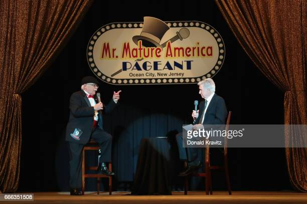 Contestant James Rago Allen age 69 takes an on stage question from TV host and commentator Regis Philbin at The Mr Mature America Pageant held at...