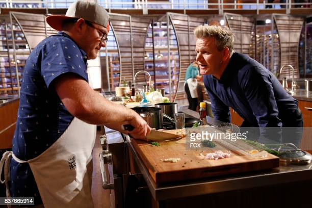 Contestant Jeff and host / judge Gordon Ramsay in the allnew twohour In A Pinch/Gordons Game Of Chicken episode of MASTERCHEF airing Wednesday Aug 23...