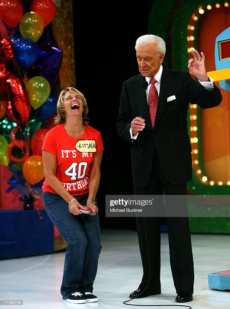 Contestant Kimala Ferran reacts while host Bob Barker tells her she is going to play the popular game 'Plinko' at the taping of the 35th Season...